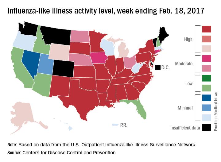 Influenza-like illness activity level, week ending Feb. 18, 2017