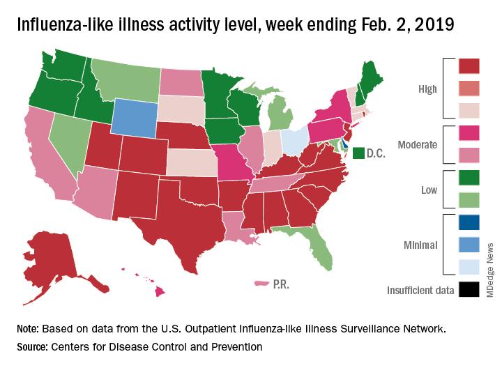 Influenza-like illness activity level, week ending Feb. 2, 2019