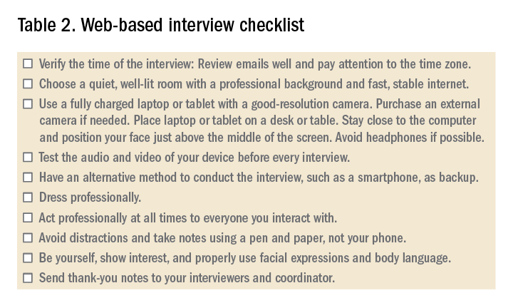 Table 2. Web-based interview checklist