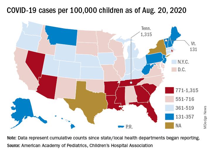 COVID-19 cases per 100,000 children as of Aug. 20, 2020