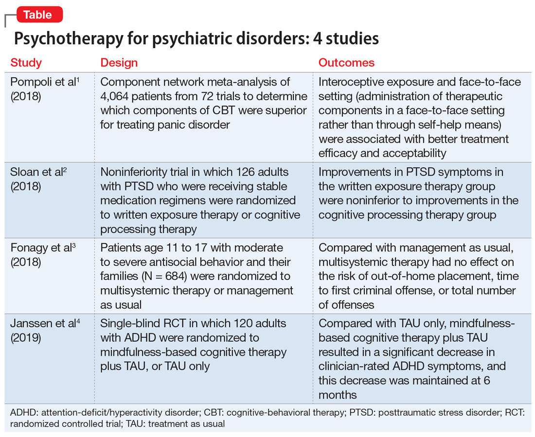 Psychotherapy for psychiatric disorders: 4 studies