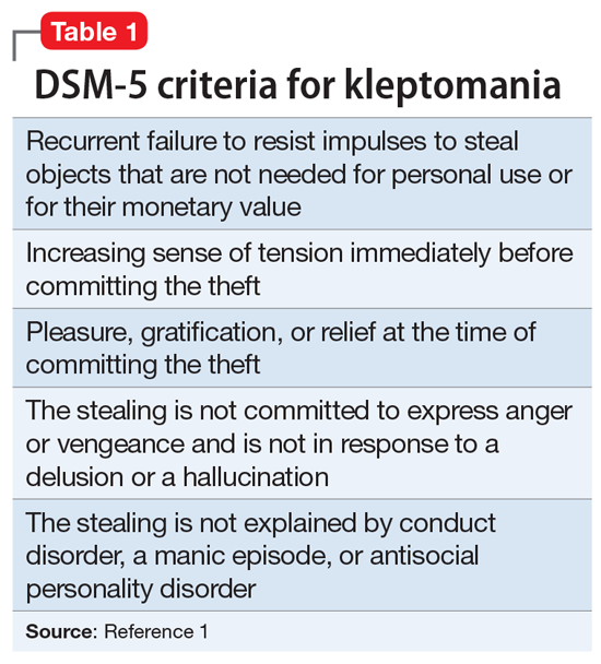 DSM-5 criteria for kleptomania