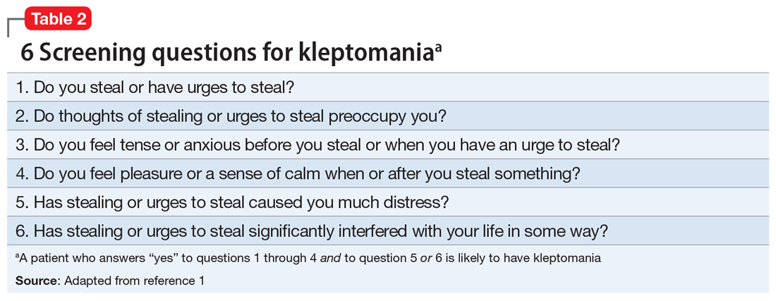 6 Screening questions for kleptomania