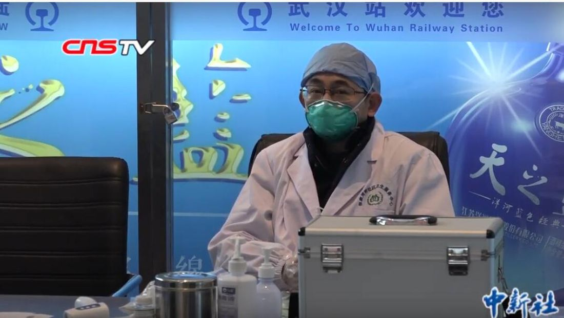 Medical staff in Wuhan railway station during the Wuhan coronavirus outbreak, January 24, 2020.