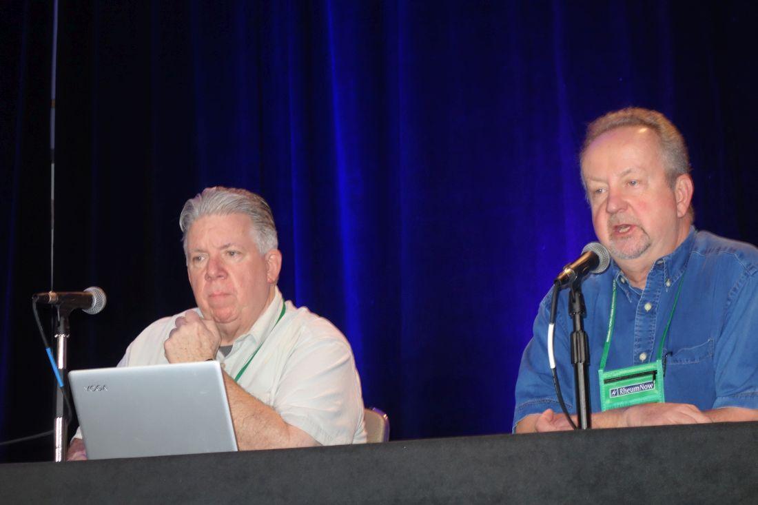 Dr. John J. Cush (left), professor of medicine and rheumatology at Baylor University in Dallas, and Dr. Arthur Kavanaugh, professor of the medicine at the University of California, San Diego.