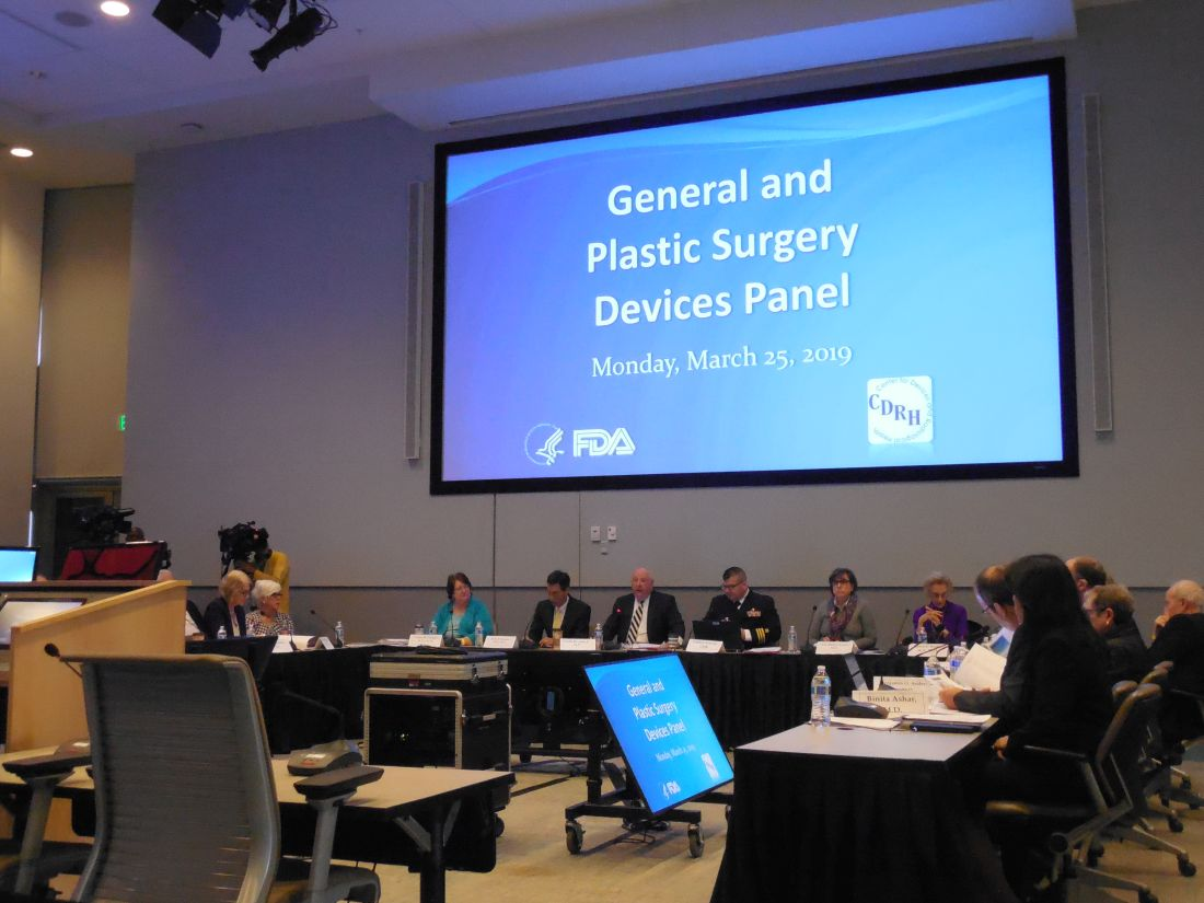 A Food and Drug Administration advisory committee began 2 days of hearings on breast implants on March 25, 2019 in Silver Spring, Md.