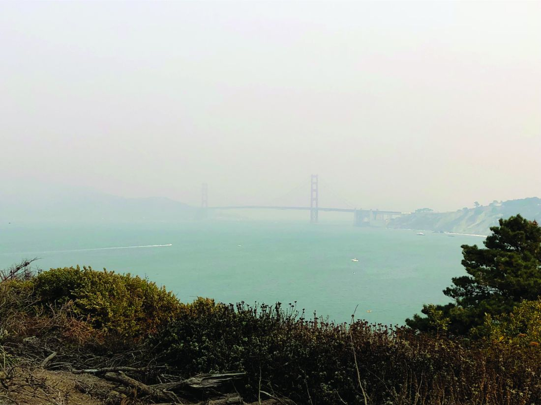 On Nov. 10, 2018, wildfire smoke from the devastating Camp Fire obscured views of the Golden Gate Bridge from Lands End Trail in San Francisco.