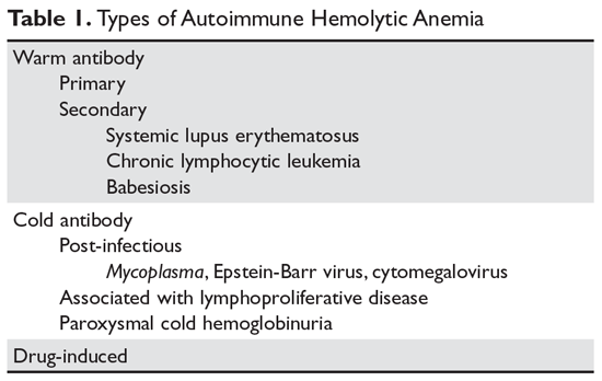 Types of Autoimmune Hemolytic Anemia