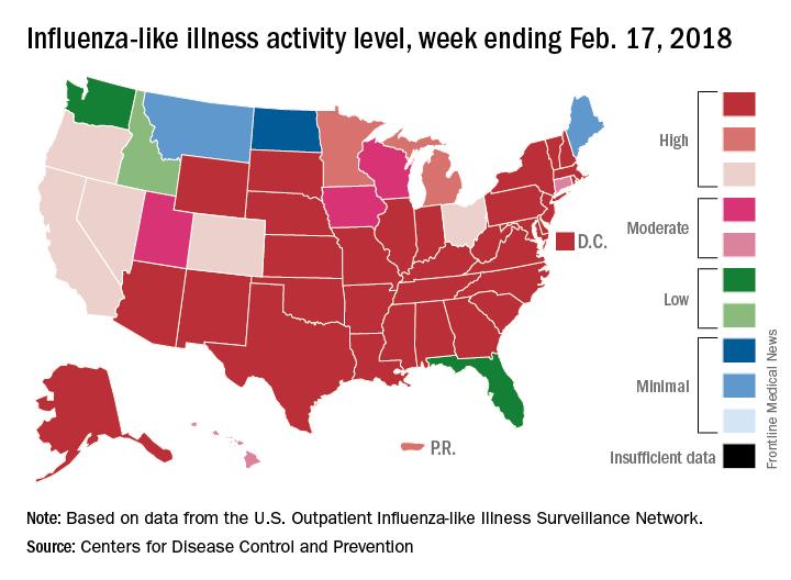 Influenza-like illness activity level, week ending Feb. 17, 2018