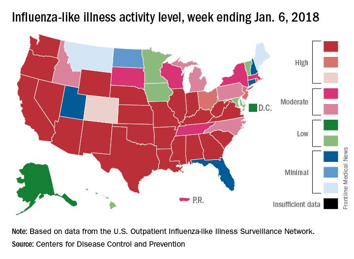 Influenza-like illness activity level, week ending Jan. 6, 2018