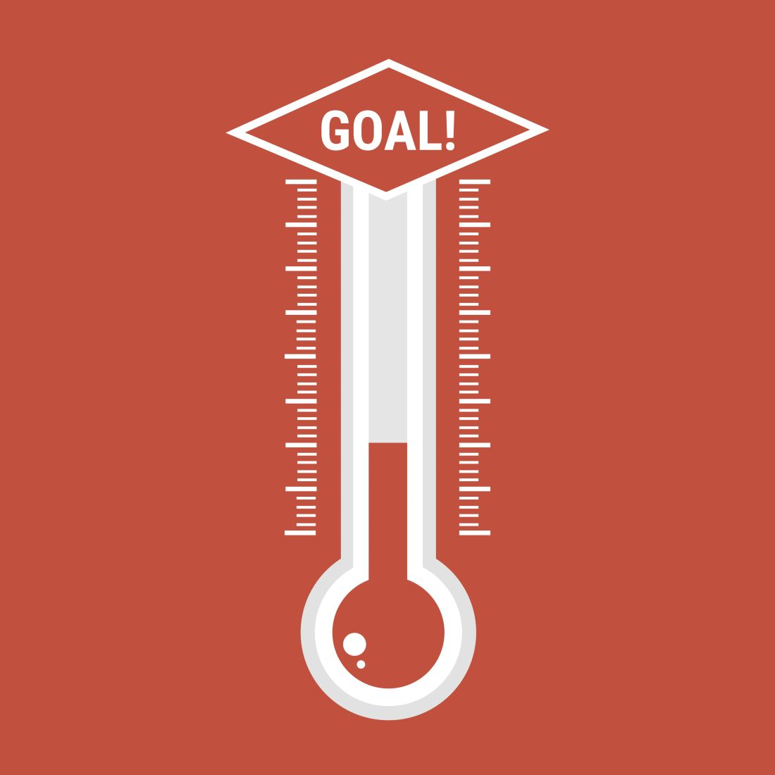 a thermometer to measure the way to a goal.