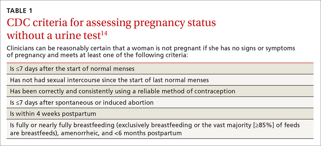 CDC criteria for assessing pregnancy status without a urine test image