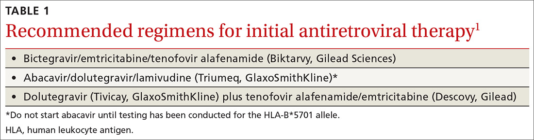 Recommended regimens for initial antiretroviral therapy