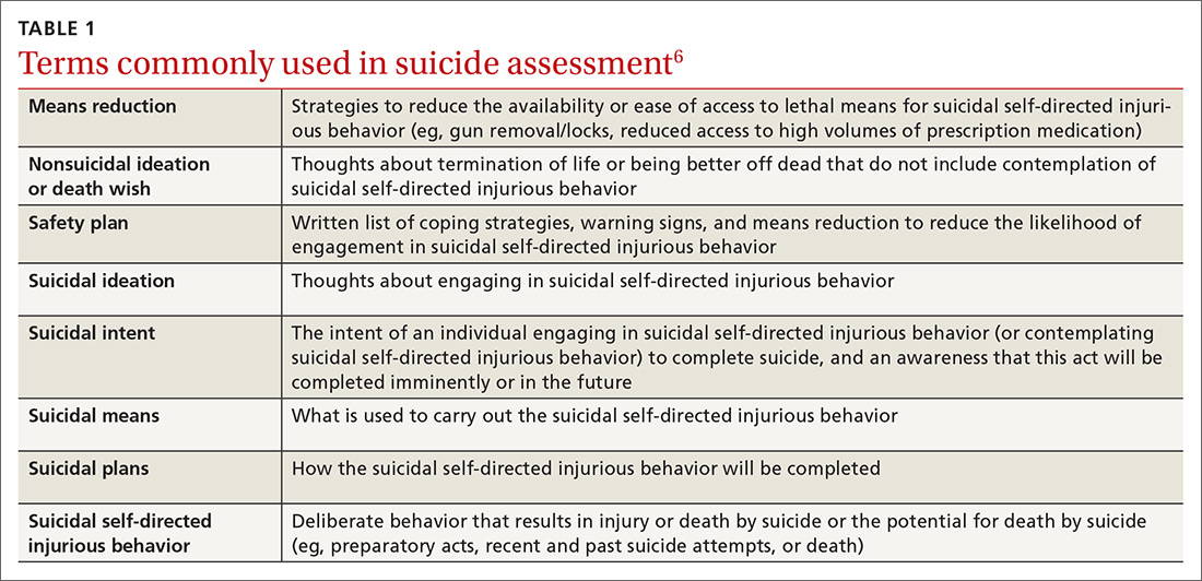 Terms commonly used in suicide assessment