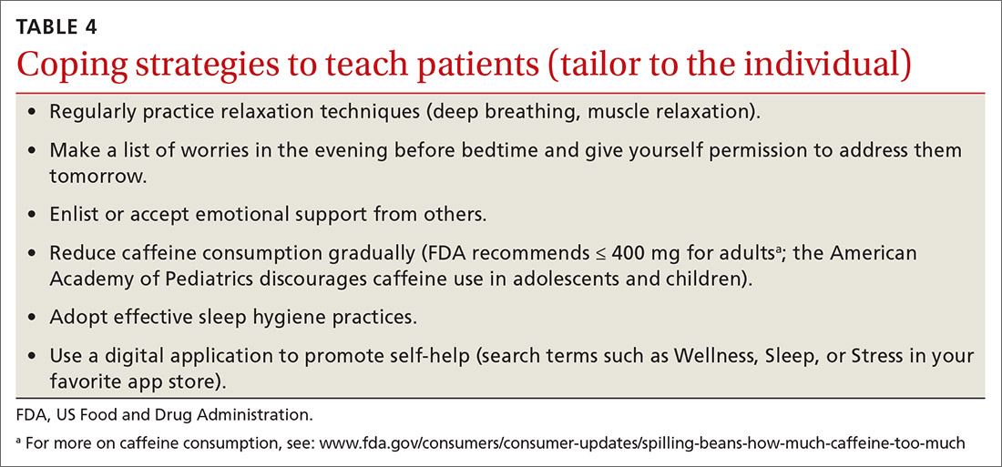 Coping strategies to teach patients (tailor to the individual)