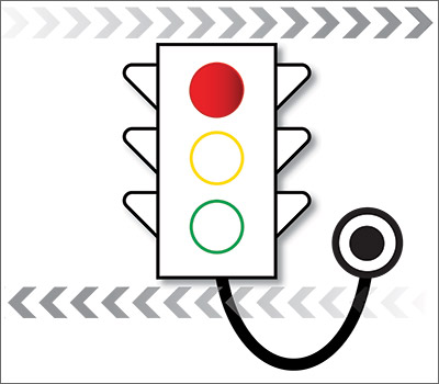 Stoplight attached to stethoscope