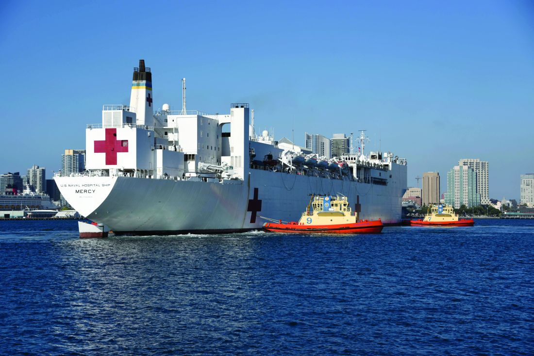 Hospital ship USNS Mercy arrives in San Diego on May 15. Mercy served as a referral hospital for non–COVID-19 patients admitted to shore-based hospitals.