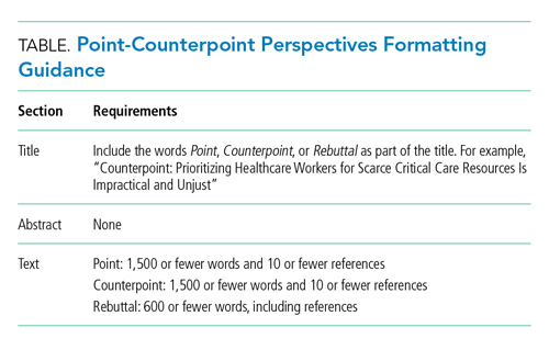 Point-Counterpoint Perspectives Formatting Guidance