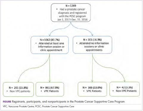 Figure registrants, participants, and on participants in the Prostate Cancer Supportive Care Program