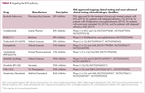 Table 4 immunotherapies in heme malignancies -- targeting the BCR pathway
