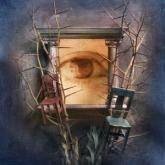 Eye in frame of columns with two chairs and trees with no leaves
