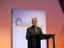 Dr. Tom Price, secretary of Health and Human Services, speaks from a podium at a health care information technology meeting in Washington.