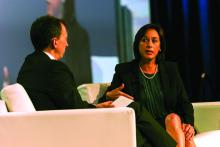 Dr. Brian Harte conducts an interveiw with Dr. Karen DeSalvo duing the opening plenary Tuesday at HM17.
