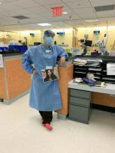 Dr. Arghavan Salles at an ICU in Brooklyn, NY.