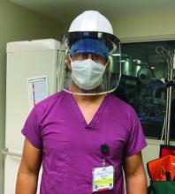 Dr. Wayne Batchelor of Inova Heart and Vascular Institute in Falls Church, Va., in personal protective equipment.