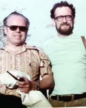 Dr. John A. Parrish, right, and his mentor, Dr. Thomas B. Fitzpatrick, pictured in the Arizona desert circa 1975. They traveled there to study the scientific rationale for the use of sunscreens.