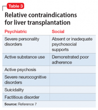 Relative contraindications for liver transplantation