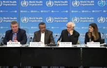 Officials participate in a press conference following the second meeting of the Emergency Committee convened by the WHO Director-General. January 30, 2020.