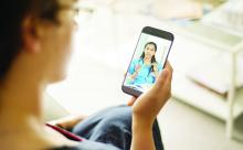 A patient has a telehealth encounter via smartphone.