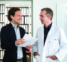 Dr. Alexander Hapfelmeier (left), research associate, Institute of Medical Informatics, Statistics and Epidemiology, Technical University of Munich, and Dr. Bernhard Hemmer, director of the neurology department at the university.