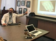 Dr. Dominick Sudano of the University of Arizona participates in a tele-rheumatology call.