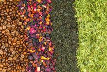 Coffee beans, fruit tea, black tea and green tea