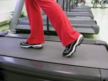 person walking on a treadmill is shown