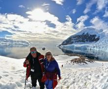 Joe and Robin Eastern at Neko Harbor on the Antarctic Peninsula.