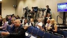 Members of the media gather to hear the results of the BAN2401 study at the Alzheimer's Association Internation Conference.