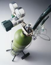 A tank of oxygen for medical use.