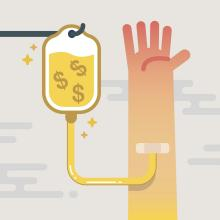 Image of an intravenous infusion of money into an arm
