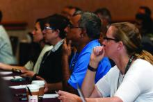 Attendees packed a pre-course session on perioperative medicine.