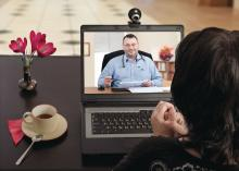 Doctor and patient in a telemedicine session