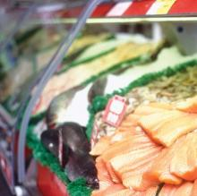 Photo of seafood in a deli case.