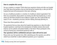 Study survey text and question