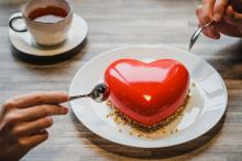 A cake in the shape of a heart.