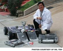 Jim Yeh, DO, and a few of the robots he's built – and won competitions with.