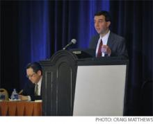 """Alexander Carbo, MD, FHM, (at podium) and Christpher Kim, MD, FHM, present """"An Introduction to Quality Improvement Methods."""""""