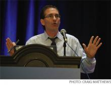 """Greg Fonarow, MD, speaks during the """"How to Prevent Heart Failure Re-admissions"""" session."""