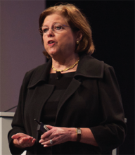 """Maureen Bisognano, president and CEO of the Institute of Healthcare Improvement, talks about """"Leading Transformational Change"""" at HM15."""
